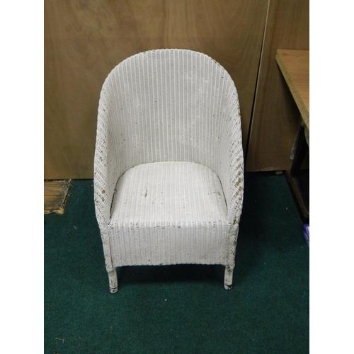 548 - Lloyd Loom style painted wicker chair...