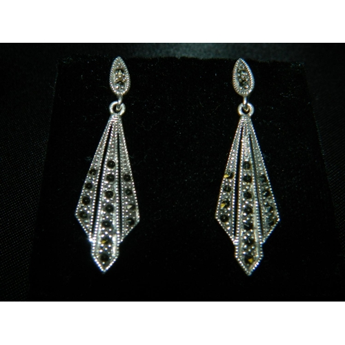 553 - Pair of silver and marcasite Art Deco style earings...