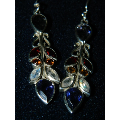 555 - 925 Pair silver earings set with different coloured stones...