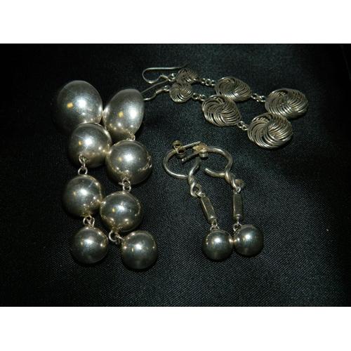 556 - 3 Pairs vintage 925 Silver earings...