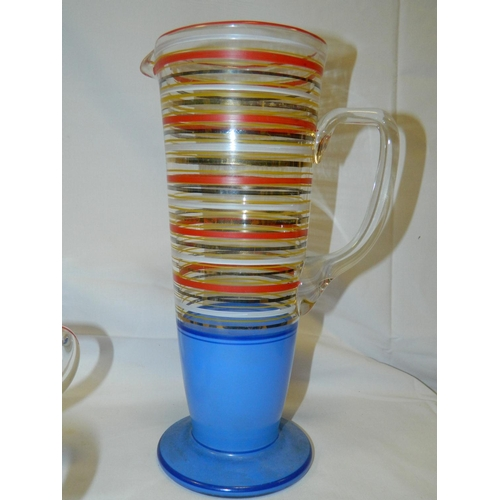 565 - 1950/60's Multi coloured water set of jug and 6 glasses...