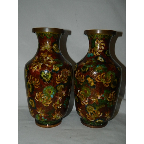 572 - Pair of decorative Cloisonne vases...