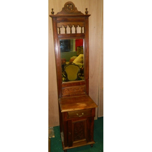 580 - Edwardian mirrored hallstand with cupboard and drawer...