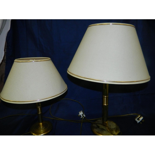 584 - 2 brass lamps with shades...