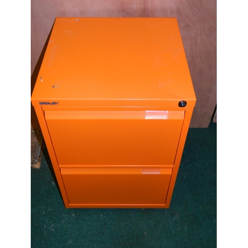 585 - 2 drawer orange filing cabinet...