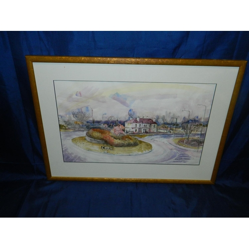 587 - Philip Hutton framed watercolour of roundabout...