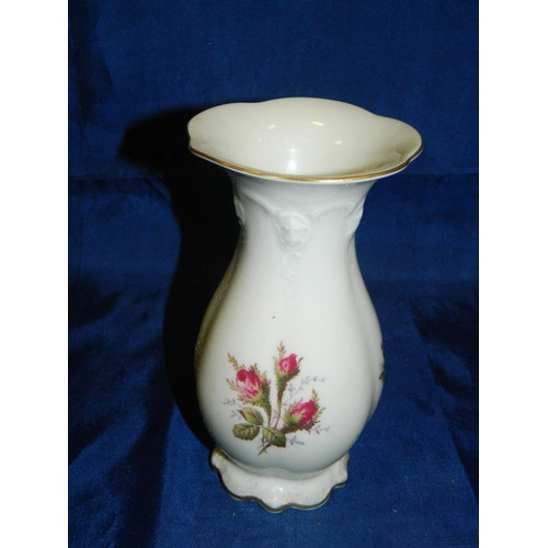 591 - Rosenthal vintage vase with rose decoration...