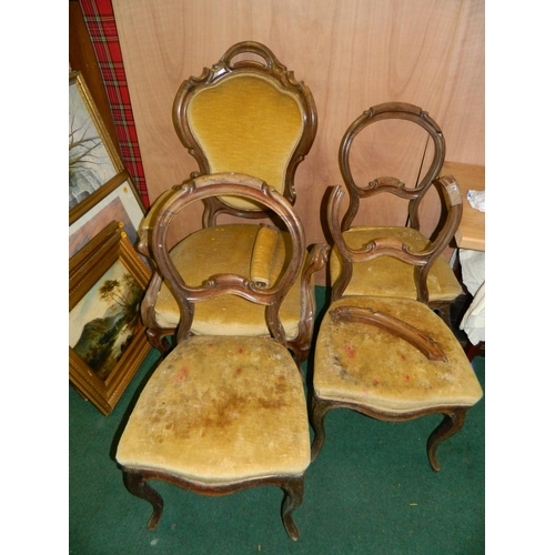 594 - French style chair and 3 balloon back chairs (in need of restoration)...