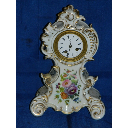 598 - Meissen style porcelain clock holder with French movement and enamelled face...