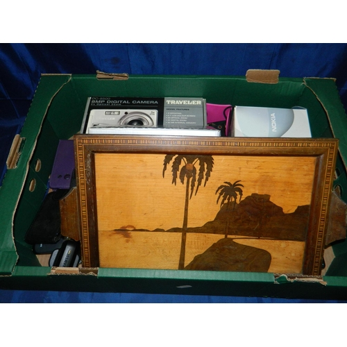 603 - Mixed box including old mobile phones, cameras placemats and inlaid tray...