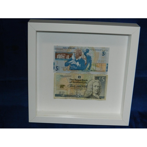 604 - 2 Framed bank notes depicting Jack Nicholas [1 in the Open, uncirculated and other in 'Good conditio...