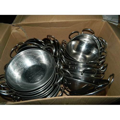 607 - Large selection of metal balti serving bowls(around 40)...