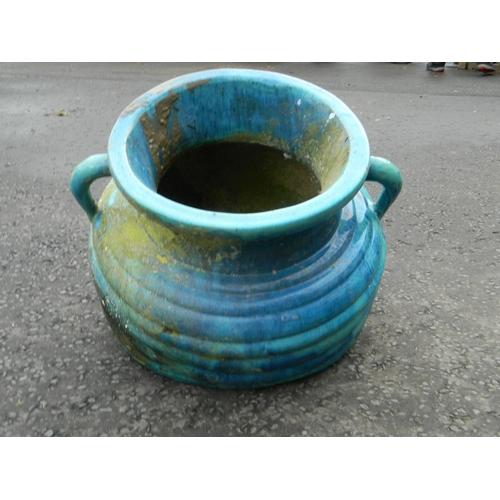 619 - Oversized Turqouise pond urn...