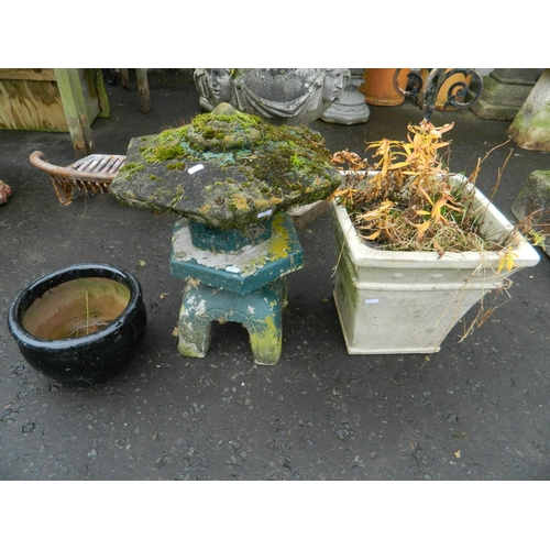 625 - Garden ceramic planter, black smaller one & small Japanese pagoda...