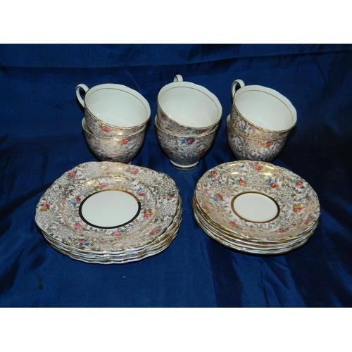 63 - Colclough tea set 6 cups,saucers and side plates...