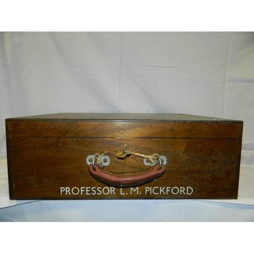 631 - Wooden gown box marked 'Prof. L.M Pickford'...