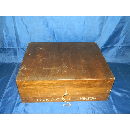 632 - Wooden gown box marked 'Prof. A.C.W Hutchinson'...