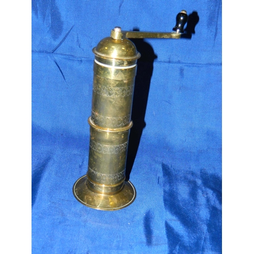 635 - Vintage brass pepper mill...