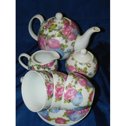 639 - Decorative 'Regal Spencer fine china' Teapot, milk jug, sugar bowl and 3 cups and 3 saucers...