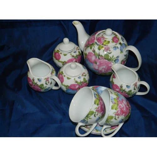 640 - Decorative 'Regal Spencer fine china' Teapot, 2 milk jug, 2 sugar bowl and 2 cups and 3 saucers...