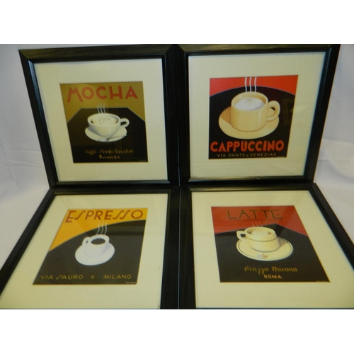 644 - Set of 4 coffee related framed pictures [29x29]cm...