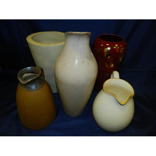 645 - Box including 3 jugs, 1 white vase and modern red vase...