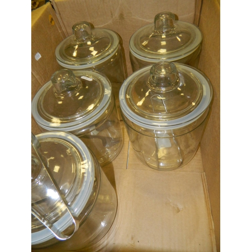 648 - Set of 5 cookie jars with tongs (from a coffee shop)...