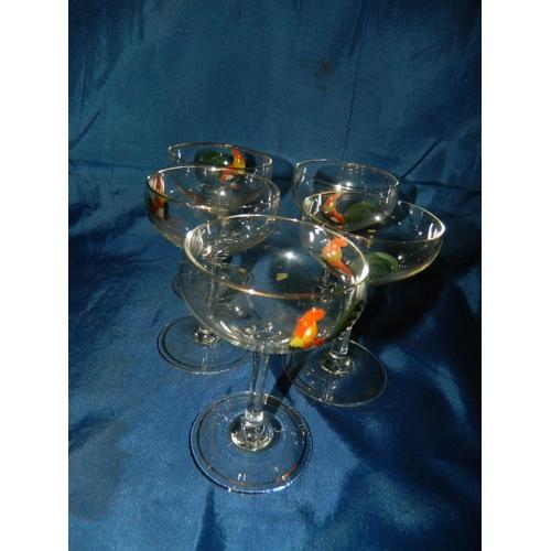 652 - Set of 5 cockerel motif champange glasses...
