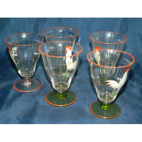 653 - Set of 5 cockerel motif glasses with orange rims...