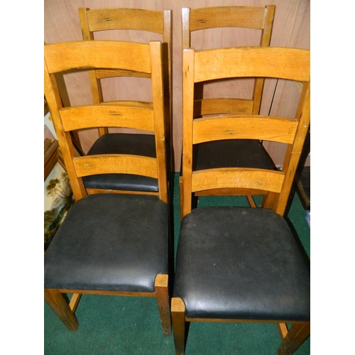 654 - 4 quality solid farmhouse style oak ladder back chairs...