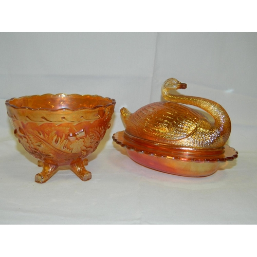 67 - 2 Pieces Carnival ware including swan...