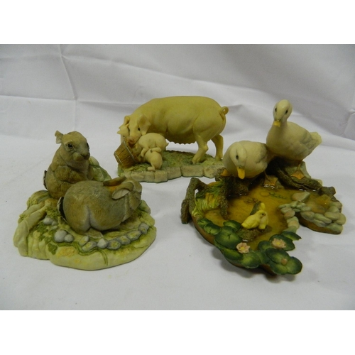 7 - 3 Boxed Aynsley and Teviotdale figurines of animals...
