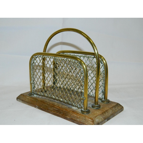 70 - Small brass Edwardian letter rack...
