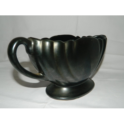 78 - Dartmouth Devon metalic black scalloped planter...