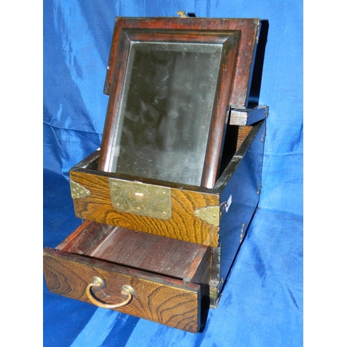 82 - Small accoutrements box with folding mirror...