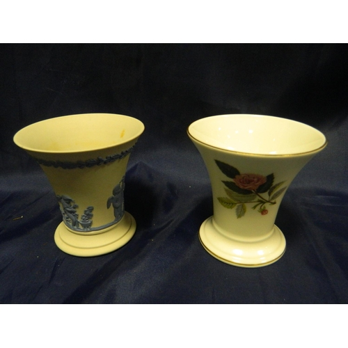 92 - Wedgwood Jasperware small vase and Wedgwood Hathaway Rose small vase...