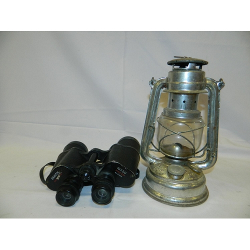 664 - Lamp and pair of Zenith binoculars 10x50 field 55 degrees...
