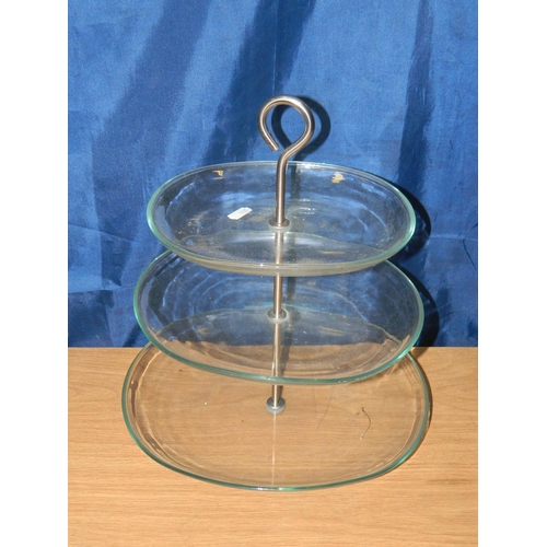 673 - 3 tier glass cake stand...