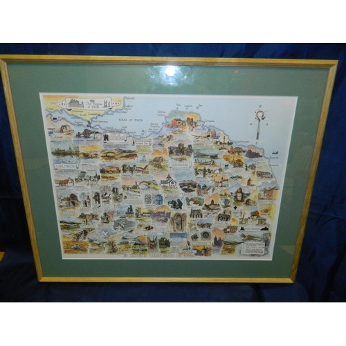 678 - Print of illustrated map of Scottish Borders by Ken Lochead...