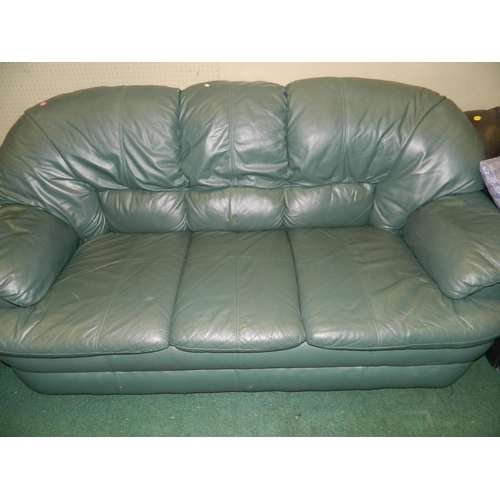 679 - Green leather 3 seater couch...