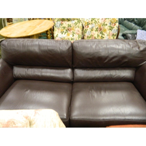 681 - Brown 3 seater leather sofa bed...