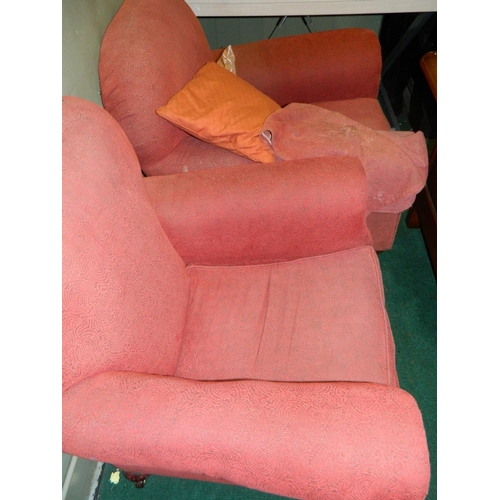 682 - 2 red vintage fabric armchairs...
