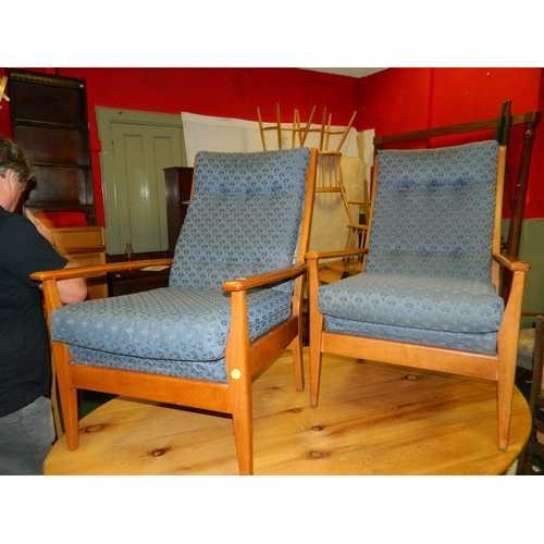 683 - 2 blue fabric easy chairs...