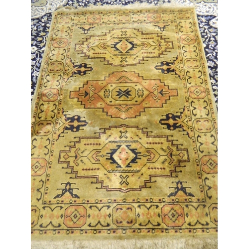 686 - Silk knotted Persian rug 3ft x 7ft...
