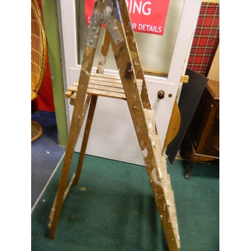 691 - Pair of wooden step ladders...
