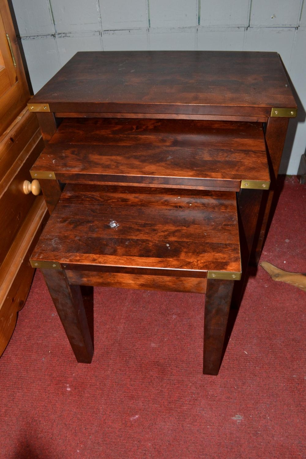 Laura Ashley Nest Of 3 Tables In Balmoral Chestnut Wood With