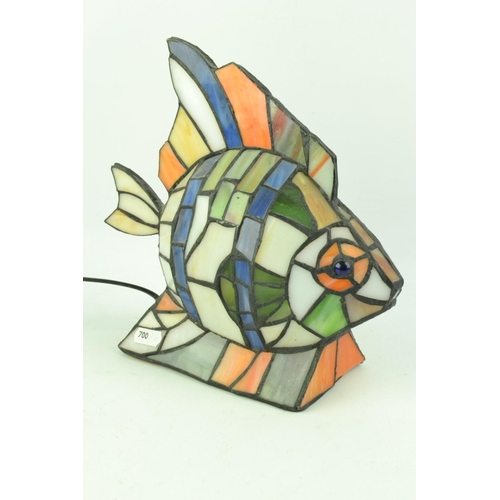54   Stained Glass Fish Shaped Table Light In Tiffany Style Approx 24cm  High.