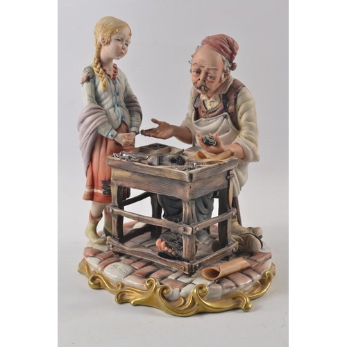 18 - Large Capidimonte figure of a cobbler with daughter...