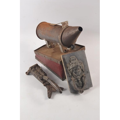 29 - Bee smoker, antique wall moulding + vintage cast iron press...