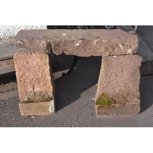 1 - Red Sandstone rustic 'Country Style' Garden seat 2.5ft L approx...